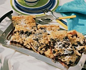 Tray-baked blueberry cake with crumble topping