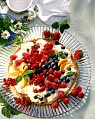 Colourful fruit gateau with orange cream on cake plate