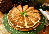 Pineapple sweet pastry gateau with mascarpone mousse