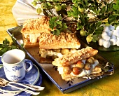 Puff pastry slices with gooseberries and vanilla cream
