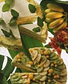 Pineapple and almond gateau and tropical gateau