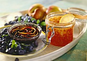 Nectarine and papaya & blueberry and cassis jam