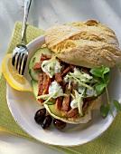 Turkey gyros with tzatziki in pita bread