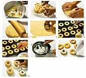 Making cheese pastry rings with gorgonzola mousse