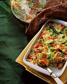 Savoy and tomato casserole with mince
