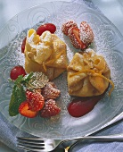Fried crepe parcels with ice cream filling