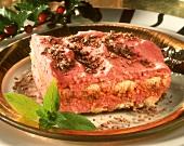 Tiramisu with mascarpone and red stewed fruit