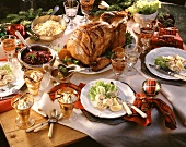 Christmas menu with stuffed turkey