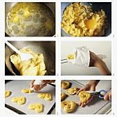 Making choux pastry mandarin hearts