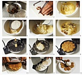 Making date waffles with cinnamon cream