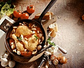 Pollo alla Marengo (chicken with shallots and mushrooms)