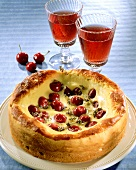 Yeast cake with cherries and thyme