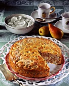 Pear and nut cake