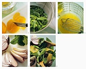 Making mangetout salad with oranges and onions