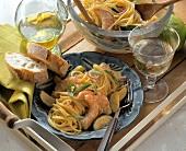 Spaghetti salad with shrimps