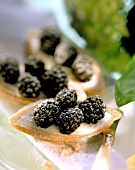 Blackberry and marzipan tartlets with cassis cream