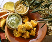 Grilled sweetcorn with various dips
