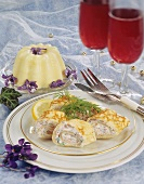 Crepe rolls with caviare & cheese stuffing, vanilla blancmange