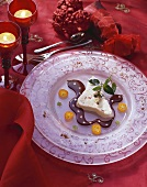 Frozen stollen (German Christmas loaf), chocolate sauce