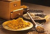 Still life with curry spice mixture & ingredients