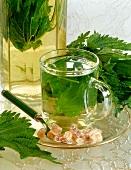 Mint tea with sugar crystals