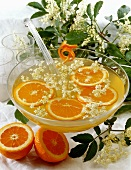 Elderflower punch with orange slices