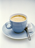 Coffee in pale blue cup