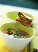Chilled chick pea and tomato soup with coriander