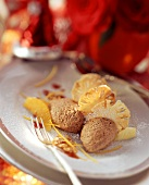 Gingerbread mousse with orange segments & pineapple chips