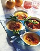 Crème brulee with rhubarb