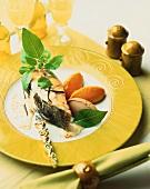 Turbot with chestnut & pumpkin dumplings & vanilla sauce