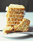 Vegetable cake in slices
