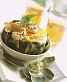 Artichoke souffle with shrimps