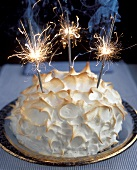 Meringue gateau (Omelette surprise) with sparklers