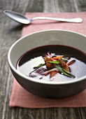 Beetroot soup with duck