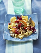 Kangaroo with radicchio cream sauce & ribbon noodles