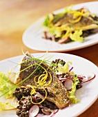 Perch with lentil salad