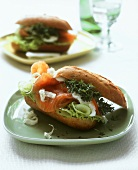 Salmon sandwich with cucumber and cress
