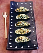Gratin of vegetables in mussel shells