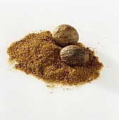 Nutmegs, whole and grated