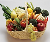 Fruit and vegetables in a wicker basket