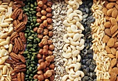 Various nuts & seeds without shells (filling the picture)