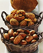 Pecans and walnuts in baskets