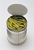 Green beans in an opened tin