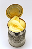 Pears in an opened tin
