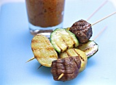 Ostrich meat & vegetable kebabs with almond & paprika dip