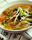 Asian noodle soup with vegetables