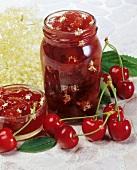 Cherry jam with elderflowers