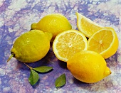 Ganze Zitronen, Zitronenhälften und ein Zitronenschnitz