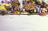 Sponge roll, rhubarb pudding, walnut plait & poppy seed cake